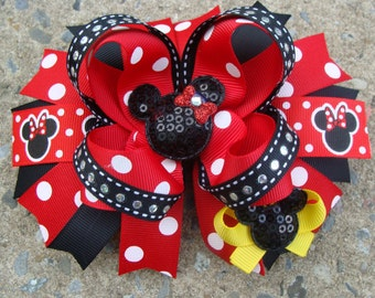 Minnie Mouse Hair Bow-Large Hair bow - Red Black  Yellow Minnie Mouse Hair Bow