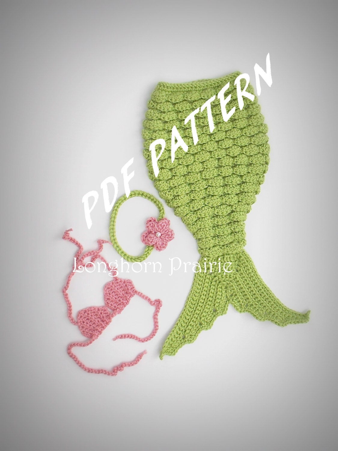 Crochet Patterns Mermaid : Mermaid Photography Prop Set crochet PATTERN by LonghornPrairie
