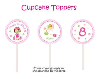Spa Birthday Party Cupcake Toppers -- spa girls - spa cupcake