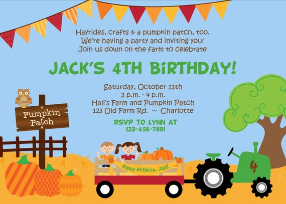 pumpkin patch birthday party invitation  farm birthday invitation, Birthday invitations
