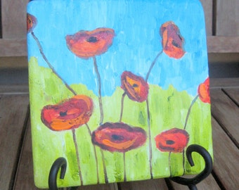 "POPPIES original PAINTING on tile-POPPY 5 3/4""x5 3/4"" red blue green"