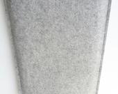 MacBook 12 sleeve, wool felt cover portrait design 100% pure grey wool felt made in Germany