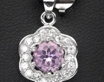 Handmade Natural Gemstone Jewelry, Genuine Purple Amethyst Sterling Silver Pendant  SG4B0359 PD-PAM063
