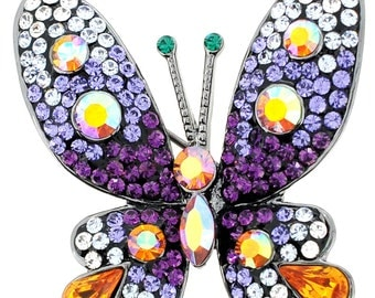 Purple Butterfly Pin Swarovski Crystal Pin Brooches 1011622