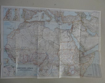 Vintage Northern Africa  National Geographic Society Wall Map Large 1954