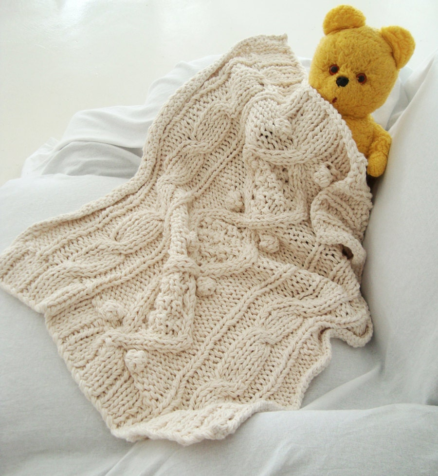 Knitting Pattern For Chunky Baby Blanket : KNITTING PATTERN for cotton chunky cable knit baby blanket