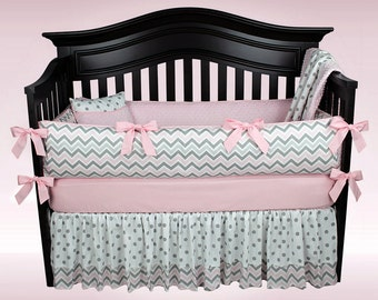 SALE! BELLA 5 Piece Bedding Set |Diaper Stacker Included - Pink and Gray Chevron and Polka Dots Nursery Bedding