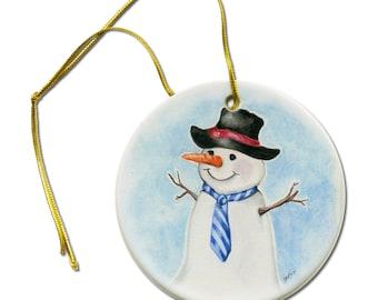 Artist Original ACEO Art  Print of Gentleman Snowman on a Ceramic Hanging Ornament