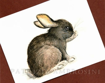 Black bunny -- ACEO PRINT open edition - animal collectible card