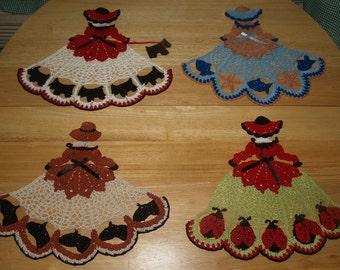 4 Crochet Doily Girl Pattern Lot 2 - Ladybugs-Horses-Scottie Dogs- Seashore