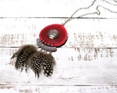 Bohemian Necklace Dreamcatcher Inspired Cranberry Grey