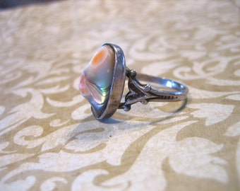 Art Deco Sterling Silver Blister Pearl Ring