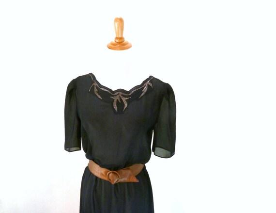 Vintage Black Sheer Dress / Buttons Up Back Dress / Copper Belt / Cocktail Dress M