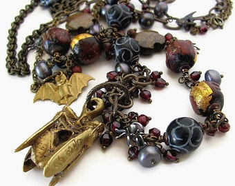 MR. RENFIELD unusual long gothic literature necklace statement necklace Bram Stoker Dracula literature jewelry unique literary jewelry