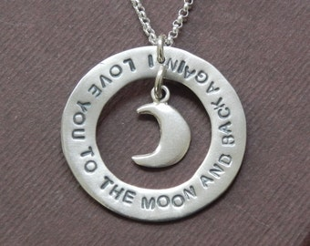 I love you to the moon and back Custom round necklace with moon in sterling silver gift for her