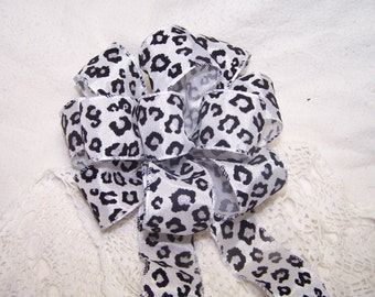 Round Leopard Print Bow Black White Silver Handmade for Wreaths or Pew Bows Christmas Batchelorette Animal Print