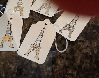 Eiffel Tower Gift Tags  - Handmade