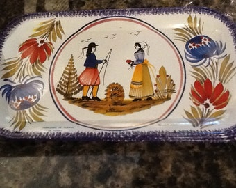 Quimper Massilly Miniature Tin Trays  - total of four