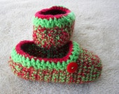 RED GREEN Hand Crochet Adult Slippers in ACRYLIC yarn