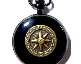 Steampunk Black Pocket Watch Golden Brass Compass Necklace or Chain Fob