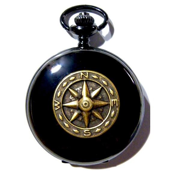 steunk black pocket golden brass compass by