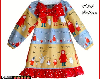 Amelia 2 SEWING PATTERNS in ONE + Free Mother-Daughter Apron Pattern, Long Short Sleeve Peasant Dress Pattern Girls Childrens , tutorial