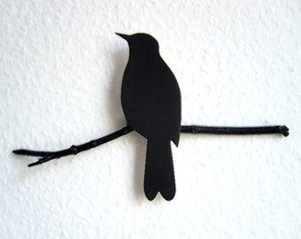Blackbird on a perch // wall ornament of renna deluxe