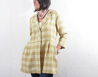 Linen Jacket with Notched Collar - Butter and Caramel Plaid with Vintage Shell Buttons