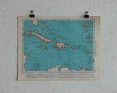 Vintage Map-West Indies-Early 20th Century