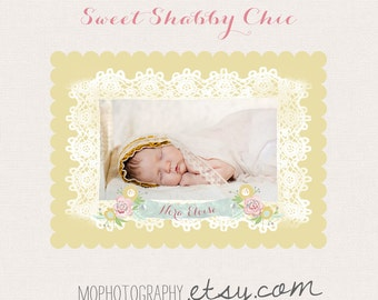 Baby Girl Birth Announcement SWEET Shabby CHIC- Custom Photo Card - 5x7 card- 30 PRINTED with envelopes