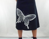 Butterfly Print Fabric Skirt - Aline Cotton Skirt - Silk Screen Printed to Order