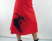 Strawberry Print Skirt - Aline Cotton Skirt - Silk Screen Printed to Order