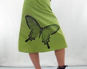 Butterfly Print Skirt - Aline Cotton Skirt - Silk Screen Printed to Order