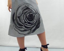 Rose Floral Fabric Skirt - Aline Cotton Skirt - Silk Screen Printed to Order