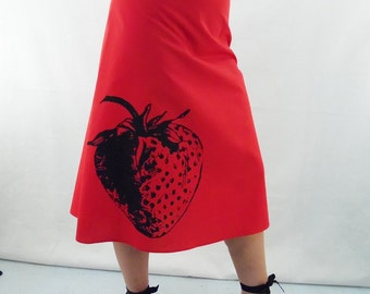 Strawberry Print Skirt - Aline Cotton Skirt - Silk Screen Printed to Order