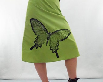 Butterfly Print Skirt - Aline Cotton Skirt - Silk Screen Printed to Order