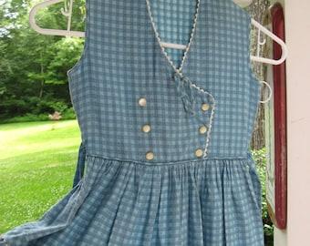 60s Little Girl's Dress / Gingham SunDress / Adorable Baby Doll Dress