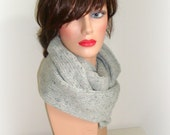 Unisex Hand Knit Infinity Scarf Cowl - Handmade Cowl Knit - Original Look - Women Men Knitted Neck Scarf - Winter Fashion - Light Grey Scarf
