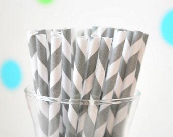 25 Paper Straws, Stripped  Paper Straws,  Light Grey  Paper Straws or Select color Paper Straws  A487
