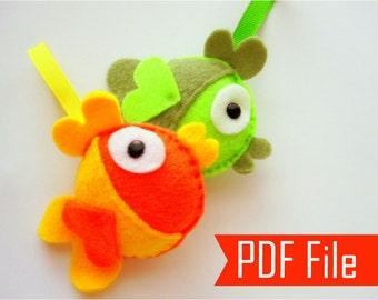 Fish Sewing Pattern, Felt Fish - PDF Sewing Pattern Felt Fish Ornament  Instant Download A199