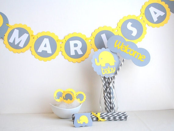 Baby Shower Party set, Grey and Yellow Baby Shower Elephant party set with Banner, centerpiece, cupcake toppers Mariapalito A461
