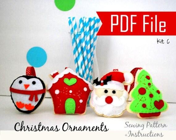 Pdf Christmas Ornament 4 Felt Sewing Pattern Penguin Gingerbread