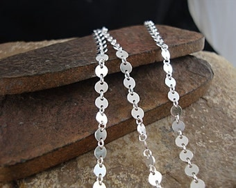 Sequin Chain, Circle Chain, Sterling Chain, Silver Disc Chain, Sterling Silver, 4mm Circle Chain, Link Chain - Sold By The Foot