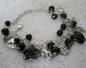 Gothic Heart Pentacle Bracelet, wiccan jewelry pagan jewelry wicca jewelry goddess witch witchcraft pentagram magic wiccan bracelet