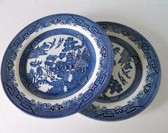 Blue Willow By Churchill England Dinner Plates 10 1/4 inch Fine China - Two