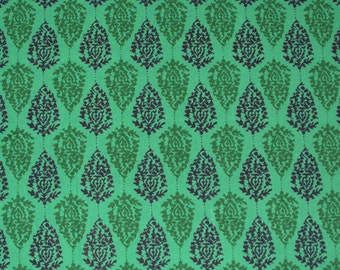 hand printed cotton fabric - green indian print fabric - 1 yard - ctjp119