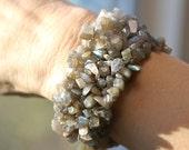 Fertility Bracelet - Labradorite Stretchy CUFF Bracelet, your choice of charm and dangle