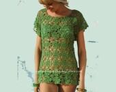 Crochet Pattern for a motif lace shell top PDF 661 from WonkyZebra