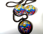 "Gunmetal Art jewelry set by Tarra Lu ""Fly II""- Gift ideas"