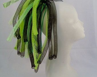 LAST ONE Cyberlox Neon Green and Black Lime Mini Clip In Monster for Short or Long Hair Hairclip Barrette Small party